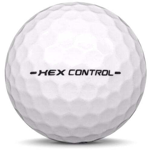 Golfboll av modellen Callaway Hex Control i vit färg från sidan
