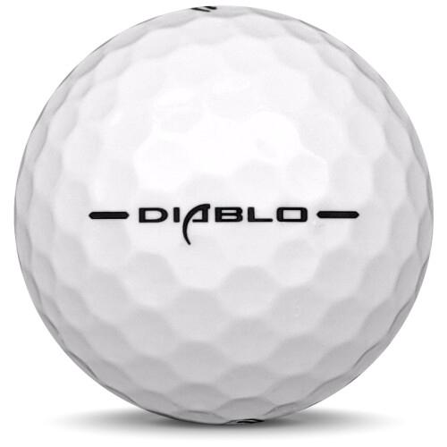 Golfboll av modellen Callaway Hex Diablo i vit färg från sidan