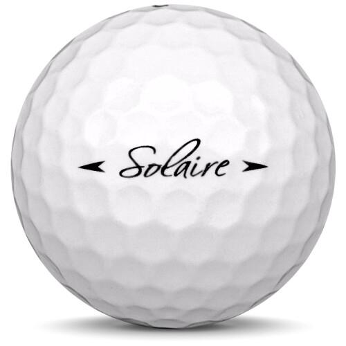Golfboll av modellen Callaway Solaire i vit färg från sidan