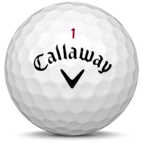 Golfboll av modellen Callaway Solaire i vit färg framifrån