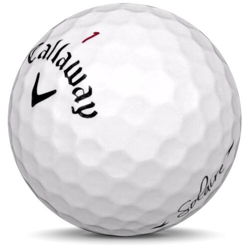 Golfboll av modellen Callaway Solaire i vit färg sned bild