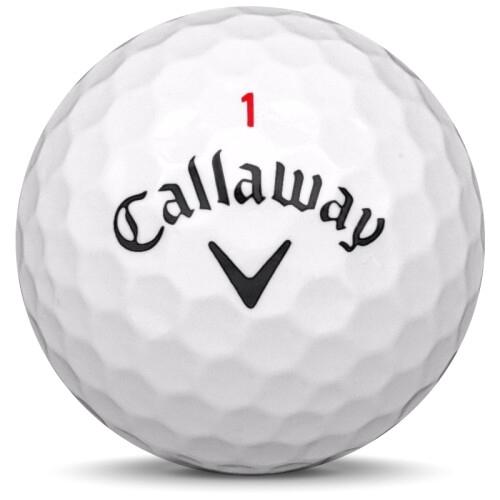 Golfboll av modellen Callaway Superhot 55 i 2018 års version med vit färg framifrån
