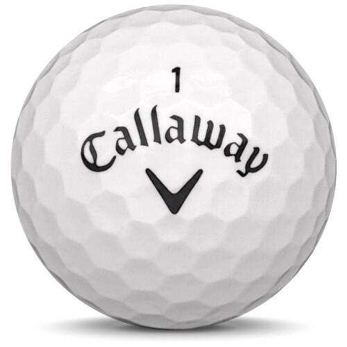 Golfboll av modellen Callaway Supersoft i 2018 års version med vit färg framifrån