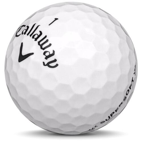 Golfboll av modellen Callaway Supersoft i 2018 års version med vit färg sned bild