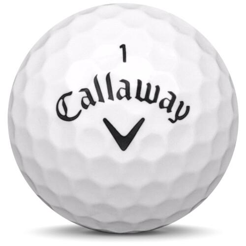 Golfboll av modellen Callaway Supersoft Magna i 2020 års version med vit färg framifrån