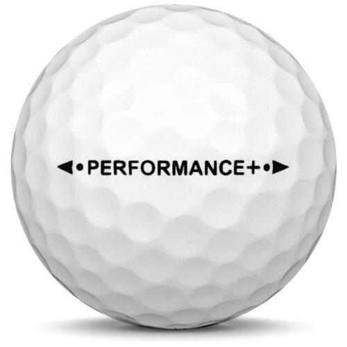 Golfboll av modellen Kirkland Performance + i 2019 års version med vit färg från sidan