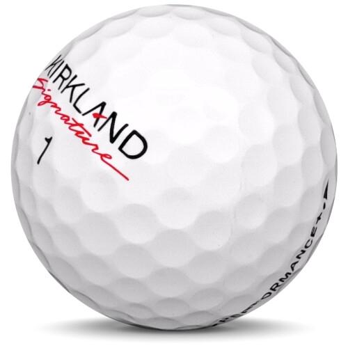 Golfboll av modellen Kirkland Performance + i 2019 års version med vit färg sned bild