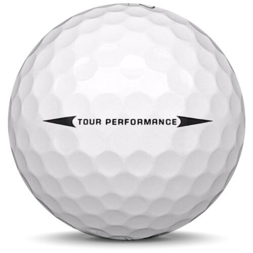Golfboll av modellen Kirkland Tour Performance i 2017 års version med vit färg från sidan