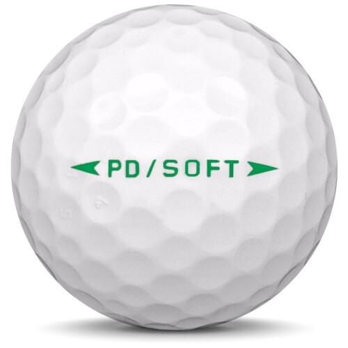 Golfboll av modellen Nike PD Soft i vit färg från sidan