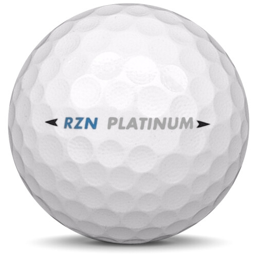 Golfboll av modellen Nike RZN Platinum i vit färg från sidan