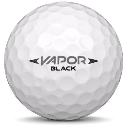 Golfboll av modellen Nike Vapor Black i vit färg från sidan