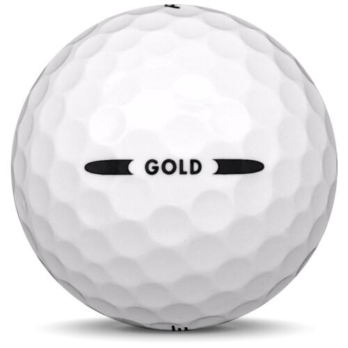 Golfboll av modellen Pinnacle Gold i vit färg från sidan