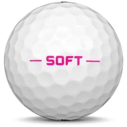 Golfboll av modellen Pinnacle Soft Lady i 2018 års version med vit färg från sidan
