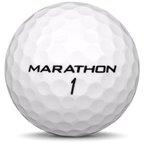 Golfboll av modellen Srixon Marathon i 2018 års version med vit färg från sidan