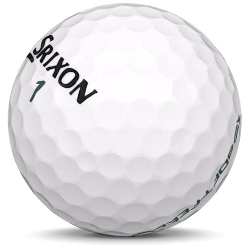 Golfboll av modellen Srixon Soft Feel i 2020 års version med vit färg sned bild