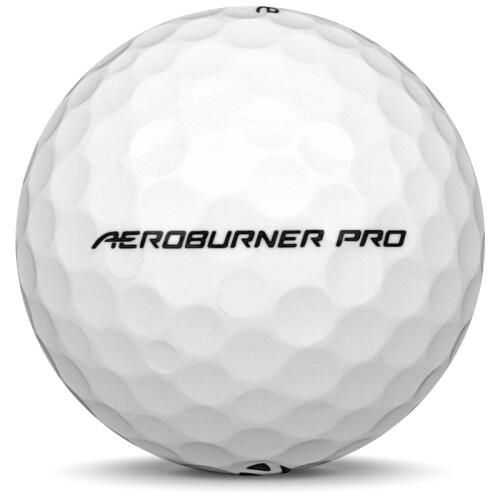 Golfboll av modellen TaylorMade Aeroburner Pro i vit färg från sidan