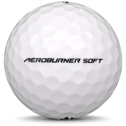 Golfboll av modellen TaylorMade Aeroburner Soft i vit färg från sidan
