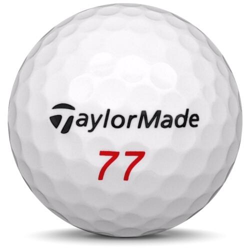 Golfboll av modellen TaylorMade Aeroburner Soft i vit färg framifrån