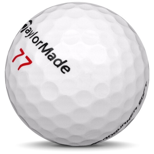Golfboll av modellen TaylorMade Aeroburner Soft i vit färg sned bild