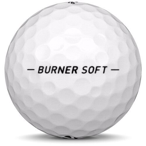 Golfboll av modellen Taylormade Burner Soft i 2018 års version med vit färg från sidan