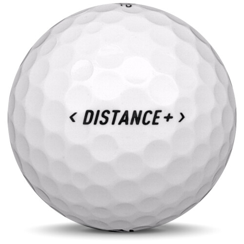 Golfboll av modellen TaylorMade Distance+ i 2018 års version med vit färg från sidan