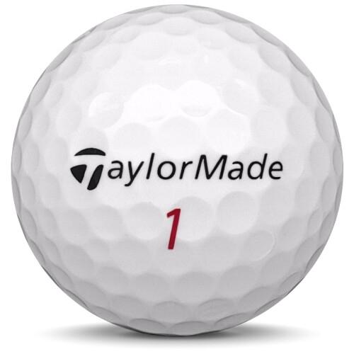 Golfboll av modellen TaylorMade Distance+ i 2018 års version med vit färg framifrån