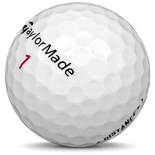Golfboll av modellen TaylorMade Distance+ i 2018 års version med vit färg sned bild