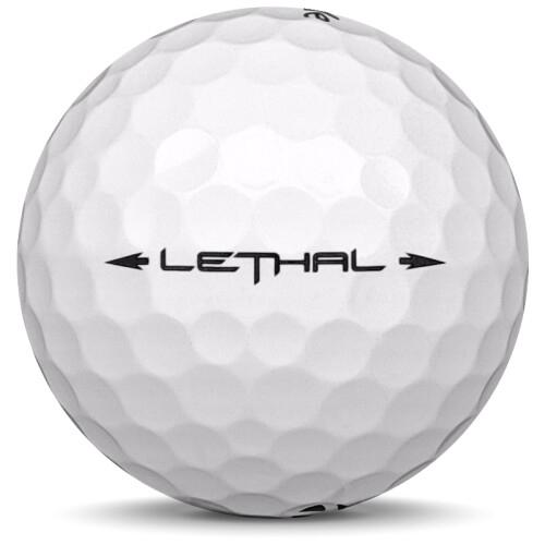 Golfboll av modellen TaylorMade Lethal i vit färg från sidan