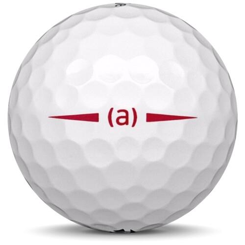 Golfboll av modellen Taylormade Project (a) i 2019 års version med vit färg från sidan