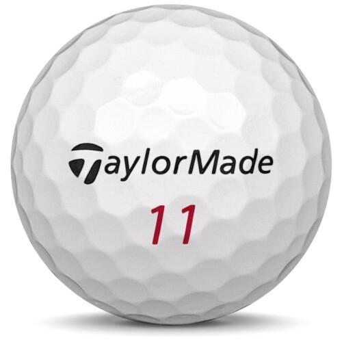 Golfboll av modellen Taylormade Project (a) i 2019 års version med vit färg framifrån