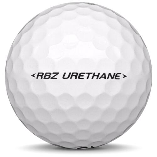 Golfboll av modellen Taylormade RBZ Urethane i vit färg från sidan
