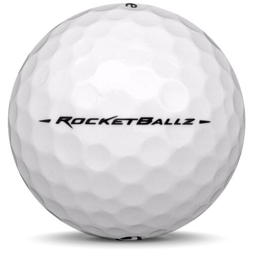 Golfboll av modellen Taylormade Rocketballz i vit färg från sidan