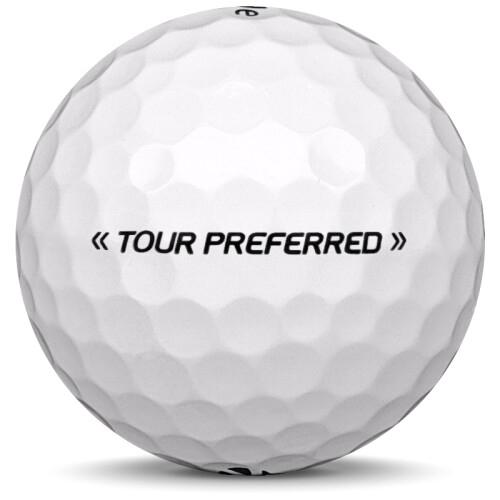 Golfboll av modellen TaylorMade Tour Preferred i vit färg från sidan