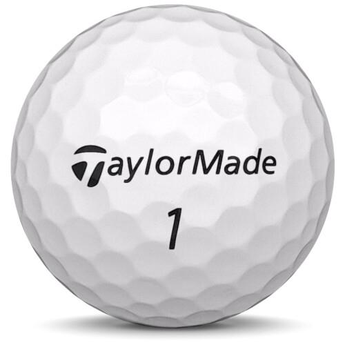 Golfboll av modellen TaylorMade Tour Preferred i vit färg framifrån