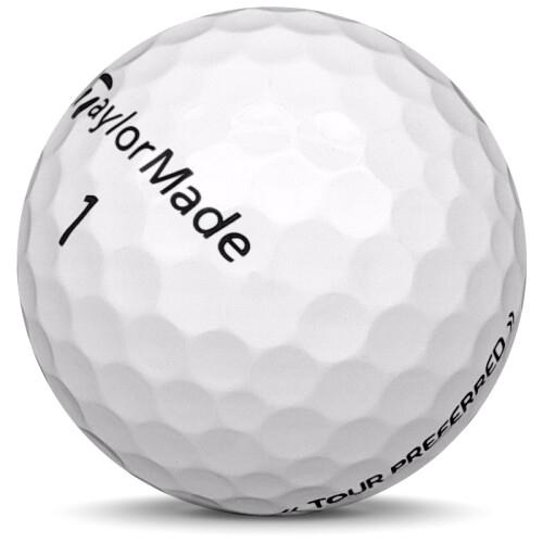 Golfboll av modellen TaylorMade Tour Preferred i vit färg sned bild
