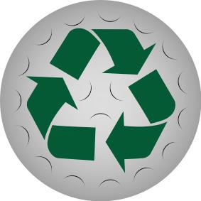 Återvunnen golfboll symbol